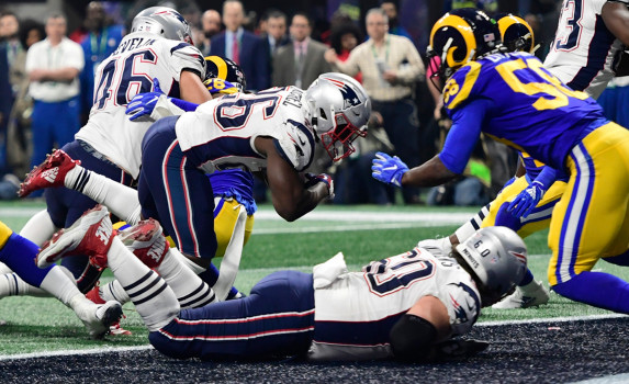 ATLANTA, GA - FEBRUARY 3:  Sony Michel goes in for a  touchdown in the middle of fourth quarter to Super Bowl LIII at Mercedes-Benz Stadium in Atlanta, Georgia on February 3, 2019. (Staff Photo By Christopher Evans/MediaNews Group/Boston Herald)